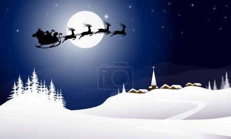 Sledge with Santa Claus at Winter Night