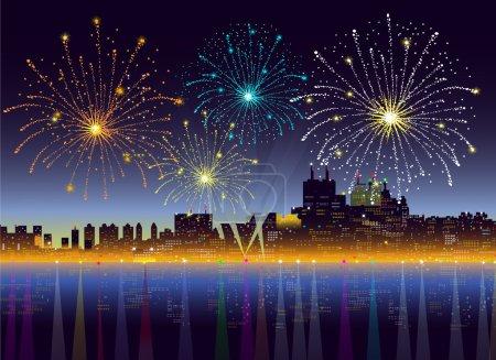 Fireworks on City Night-Vector