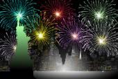 Fireworks on New York - Vector