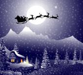Santa's sleigh on Christmas Night is a vector illustration
