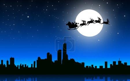 Santa Flying Over City