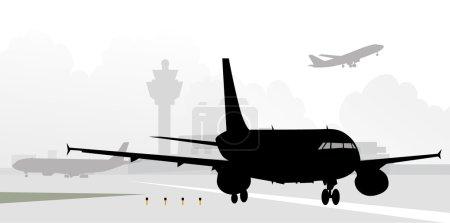 Illustration pour Avion sur piste est une illustration vectorielle . - image libre de droit