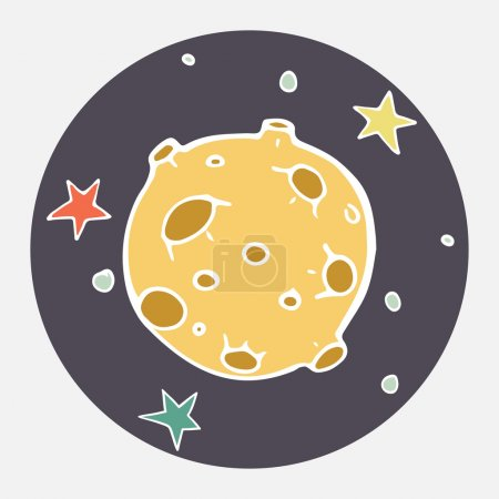 Illustration for Hand drawn cartoon moon and stars. Childish doodle space illustration. Flat icon design. - Royalty Free Image