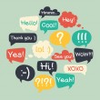 Trendy speech bubbles set in flat design with shor...