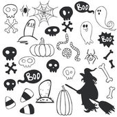 Halloween doodles with cartoon ghosts
