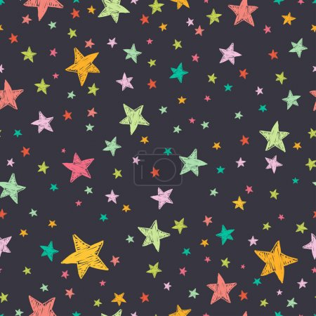 Illustration for Seamless pattern with night sky and colorful hand drawn doodle stars. Vector tiling background. - Royalty Free Image
