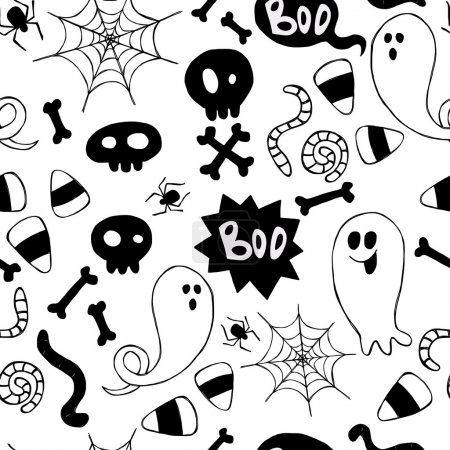 Illustration for Seamless pattern with hand drawn halloween doodles. Childish tiling background with cartoon spooky ghosts, skulls, bones, spider and candy corns. - Royalty Free Image