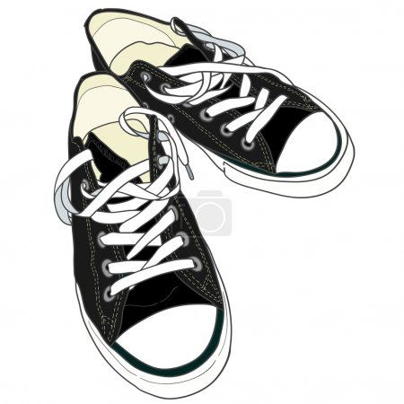 Illustration for Hand drawn pair of black sneakers on the white background. Vector illustration. - Royalty Free Image
