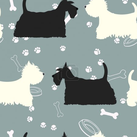 Illustration for Seamless pattern with dogs silhouettes. Scottie and west highland terrier. Vector background. - Royalty Free Image