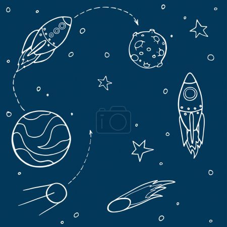 Illustration for Set of cartoon space elements: rockets, planets and stars. Childish background. Vector illustration. - Royalty Free Image