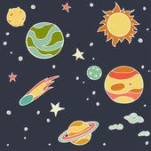 Set of cartoon space elements
