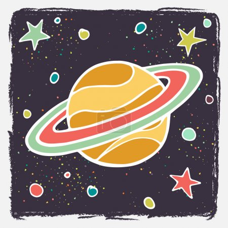 Illustration for Hand drawn cartoon Saturn planet and stars. Childish doodle space vector background. - Royalty Free Image