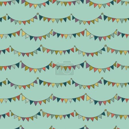 Illustration pour Motif sans couture avec des drapeaux colorés de bruant enfantin sur fond vert. Illustration vectorielle . - image libre de droit
