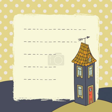 Childish card with cartoon house