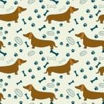 Seamless pattern with cartoon dachshunds, bones, p...