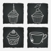 Cupcakes and cup of tea