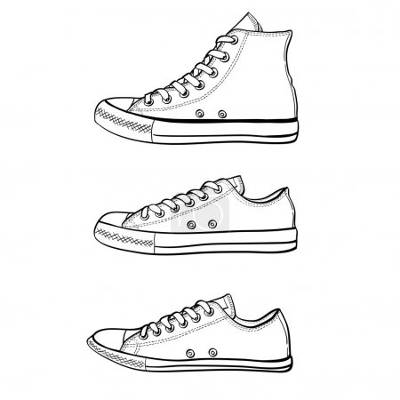 Set of high, low and slim sneakers