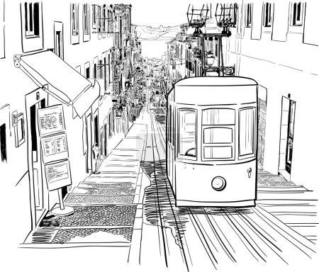 Quiet Lisbon street with a tram
