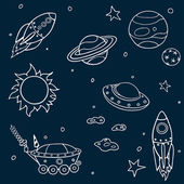 Set of cartoon space elements: rockets planets and stars Childish background Vector illustration