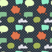 Seamless pattern with speech and thought bubbles on the polka dot black background Vector illustration