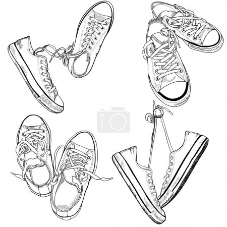 Sneakers drawn in a sketch style