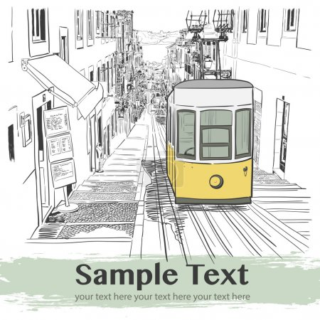 Illustration for Quiet street with a yellow tram in a Mediterranean town - Royalty Free Image