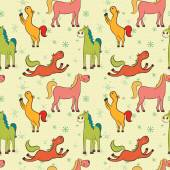 Colorful cartoon horses pattern
