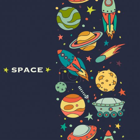 Illustration for Seamless pattern with space, rockets, comet, planets and stars. Childish background. Hand drawn vector illustration. - Royalty Free Image