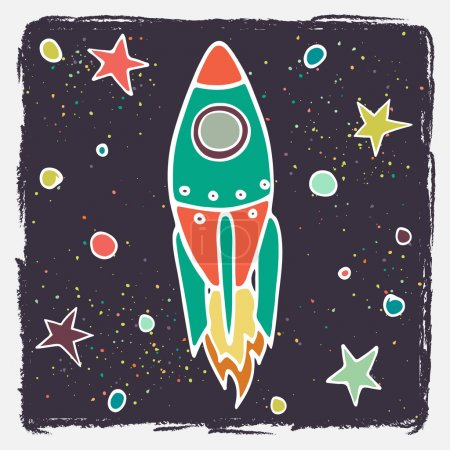 Illustration for Hand drawn cartoon rocket and stars. Childish doodle space background. Vector illustration. - Royalty Free Image