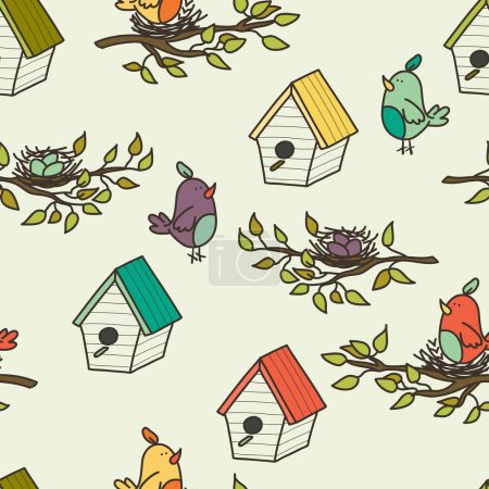 Pattern with birdhouses and birds