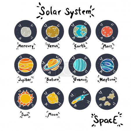 Set of hand drawn doodle planets