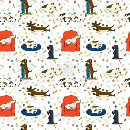 Seamless pattern with cartoon dogs