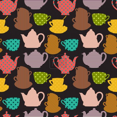Seamless pattern with cups and teapot