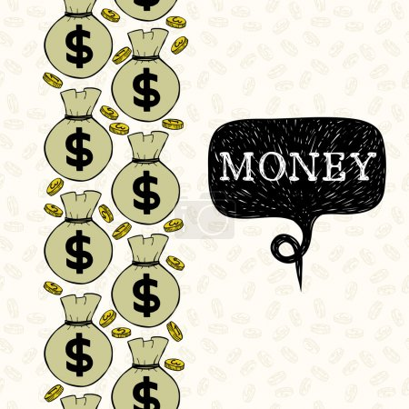 Pattern with  coins and money bags