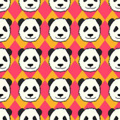 Seamless pattern with cute hand drawn panda heads Animal tiling background