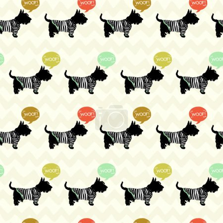 Illustration for Seamless pattern with sketchy dogs on chevron background. - Royalty Free Image