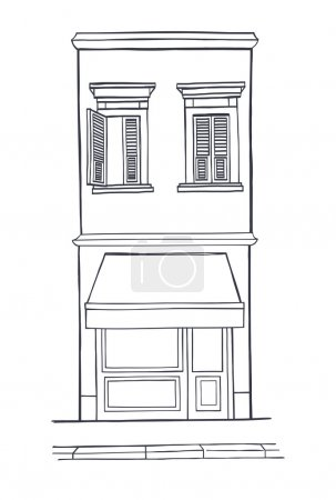 Hand drawn sketchy house with shop