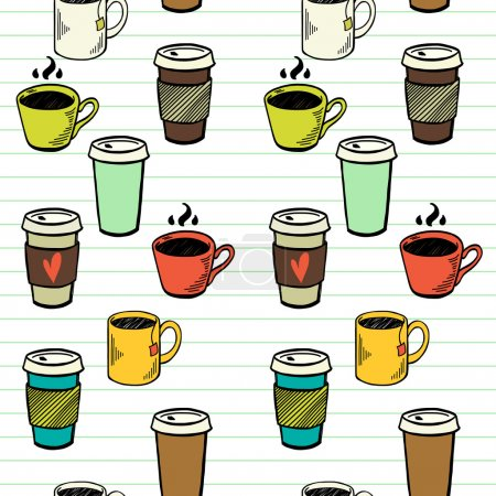 Seamless pattern  with tea and coffee cups
