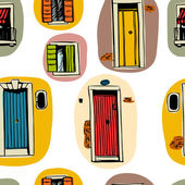 Seamless pattern with colorful doors and windows
