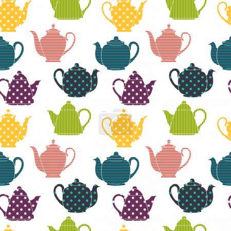 Pattern with colorful coffee and teapots