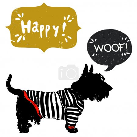 Scottish terrier in shirt with speech bubble