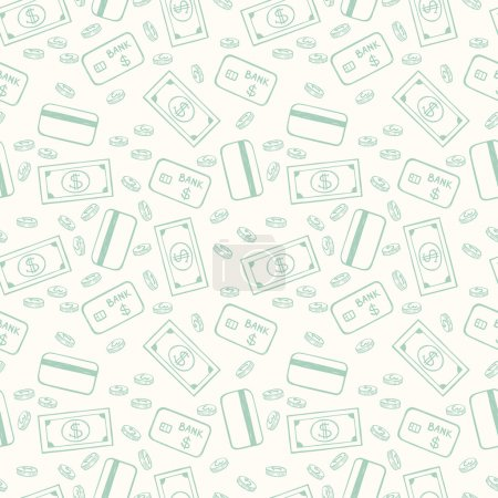 pattern with coins, dollars and credit cards