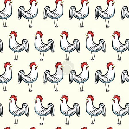 Seamless pattern with cartoon roosters