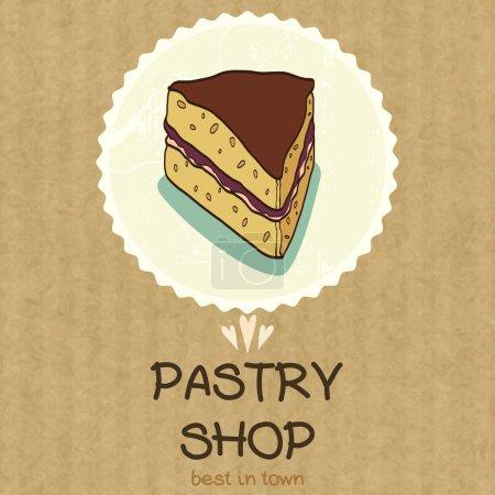 Illustration pour Pièce de gâteau dessinée à la main dans un badge avec place pour un texte sur fond de papier kraft . - image libre de droit