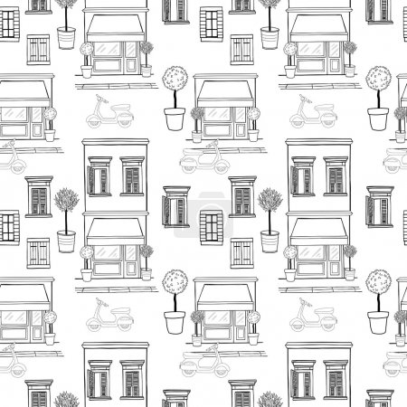 Seamless pattern with sketchy shop