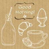 Ranní káva, vařené vejce a mléko