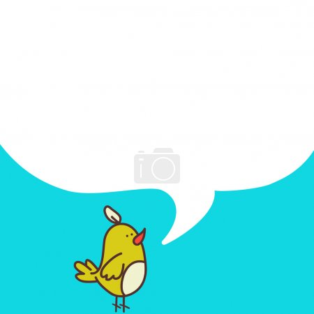 Hand drawn cartoon bird with speech bubble on blue...