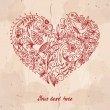 Vector heart made from small doodles (flowers, lea...