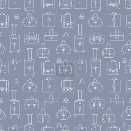 Illustration for Black and white seamless vector background with shopping bags, handbags, plastic bag. Can be used for textile, web design and many other cases. - Royalty Free Image