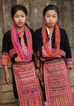 Unidentified Akha girls at New Year ceremony